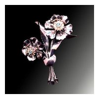 Silvertone Rhinestone Spray Brooch