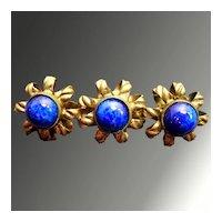 Beautiful Art Nouveau Edwardian Czech Gold-tone and Blue Art Glass Brooch Pin