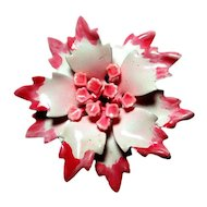 Pink Enamel Vintage Flower Brooch