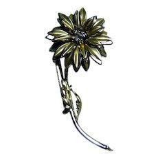 Vintage Floral Rhinestone Pin