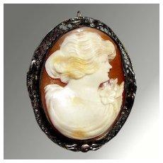 Beautiful Shell Cameo Brooch
