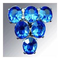 Large Blue Rhinestone Dress Clip