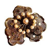 Sterling & Pearl Floral Brooch