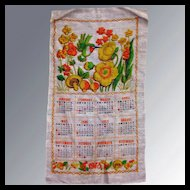 Vintage Calendar Tea Towel 1973 Kitchen Accessory