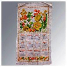 Vintage Calendar Tea Towel 1973 Kitchen Accessory Mid Century Decor, Vintage Linens