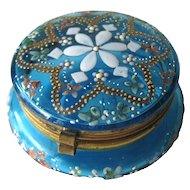 Antique Moser Patch Box or Dresser Box - Aqua Glass Enamel Hinged Box for Vanity Table