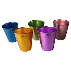 Anodized Aluminum Bascal Tumbler Set Of 6 Short Tumblers Vintage Home Decor