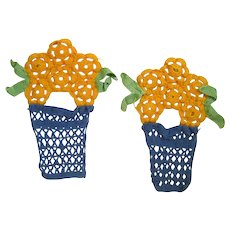 Handmade Doilies Yellow Potted Flowers - Crocheted Flowers in Pot