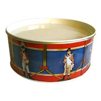 Metal Toy Drum Tin With Soldiers in Uniform