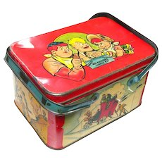 Joe Palooka Lithograph Tin Lunch Box - Lithographed Cartoon Lunch Kit - Ham Fisher Cartoon - 1940s Comic Strip
