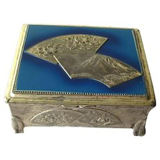Occupied Japan Fan Box - Vanity Box - Jewelry Box - Asian Box - Enameled Box
