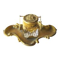 Art Nouveau Single Inkwell and Pen Stand, Vintage Office Decor, Antique Ink Well, Glass Inkwell, Decorative Objects, Desk Accessories