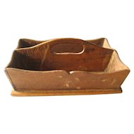 Miniature Utensil Tray - Vintage Wood Cutlery Holder - Vintage Doll Accessory
