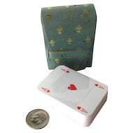 Miniature Deck Of Playing Cards In Italian Leather Case Made in Italy Unopened