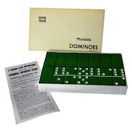 Green Marblelike Domino Set In Original Box With Instructions Vintage Game