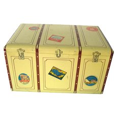 Corte D'Or Chocolate Travel Trunk Tin With Lithograph Artwork Collectible Tin Box