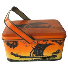 Silhouette Lunch Pail With Children Lithograph Tin Box