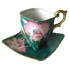 Bone China Cup And Saucer by Trimont China Occupied Japan With Pink Orchid Design