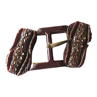 Carved Bakelite Buckle With Floral Design Vintage Clothing Accessories
