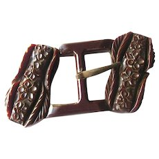 0fa752ab903d Openslate Collectibles.  35 USD. Carved Bakelite Buckle With Floral Design  Vintage Clothing Accessories