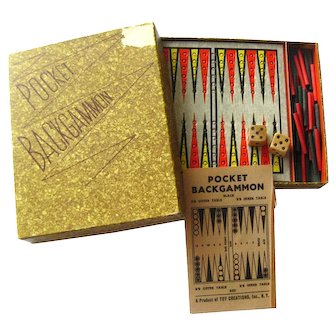 Pocket Backgammon By Toy Creations Travel Board Games Vintage Game Board
