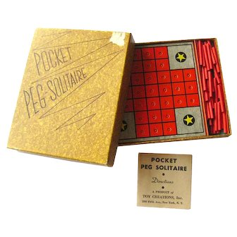 Travel Solitaire Board Game POCKET PEG SOLITAIRE by Toy Creations Vintage Games Travel Games Solitaire
