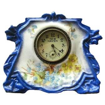 New Haven Porcelain Mantel Clock Iin Working Condition Wind Up Clock Hand Painted Floral Clock Home Decor
