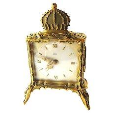 EMES German Dore Bronze Enamel Alarm Clock In Working Condition - Mechanical Wind Up Clock - Alarm Clock - Desk Accessory