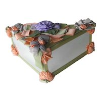 Mirror and Ribbon Triangular Hankie Box - Handkerchief Box - Floral Ribbon Box