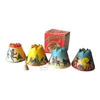 Vintage Christmas Revolving Xmas Tree Light Shades Whirl-Glo Box No 1 - 4 Christmas Bulb Shades - Scotty Dog