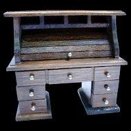 Miniature Wooden Roll Top Desk / Vintage Dollhouse Furniture / Miniature Roll Top Desk