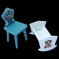Miniature Dollhouse Painted Wooden Chair and Baby Cradle / Vintage Doll House Furniture / Painted Furniture