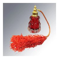 Cranberry Cut Glass Perfume Scent Bottle With Tassel