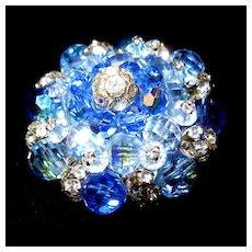 Vendome Sparkling Blue & Rhinestone Pin