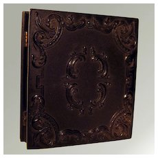 Antique Victorian Tintype In Ornate Gutta Percha Union Case