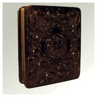 Antique Victorian Daguerreotype In Highly Carved Gutta Percha Union Case