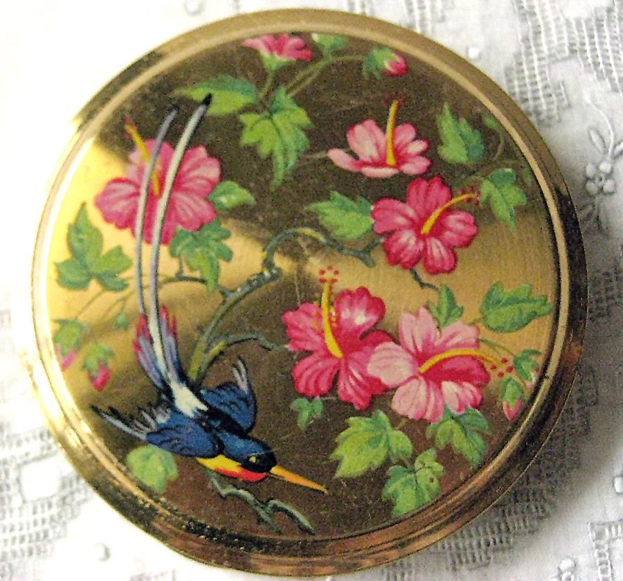 Vintage Powder Compact With Floral Hibiscus And Bird Of