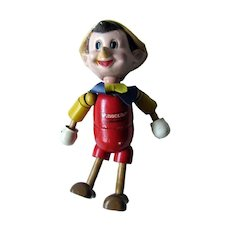 Pinocchio Jointed Wood and Composite Doll By Ideal 1930s / Vintage Doll / Collectible Doll / Walt Disney