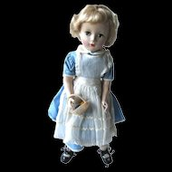 """Hard Plastic 14"""" Vintage Doll With Alice In Wonderland Outfit"""
