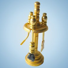 Brass Fireplace Tool Set in Stand Miniature Dollhouse / Doll House Furniture / Miniature Furniture