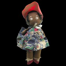 Gollywog Rag Doll - Pollywog Doll - Vintage Black Rag Doll
