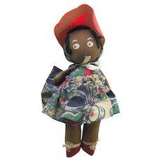 Gollywog Rag Doll - Pollywog Doll - Vintage Black Rag Doll
