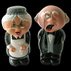 Sneezing Grandma and Grandpa Salt and Pepper Shakers - Vintage Kitchenware - Collectible Shakers - Maid and Butler Electronic Salt Shakers