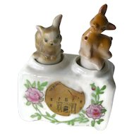 Texas Alamo Souvenir Deer Nodder Shaker Set - Figural Salt and Pepper Shakers - Housewarming Gift - Salt Shaker Set - Couples Gift