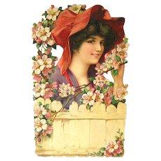 Apple Blossom Woman Artwork - Salesman Sample Calendar Art - Vintage Ephemera