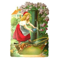 Calendar Art German Print Girl at Well - Salesmans Sample - Die Cut Calendar With Pocket - Rare German Art Print