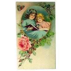 Nursery Decor Art Print - Children Scene Calendar Art - German Art Print - Vintage Ephemera