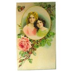 REDUCED Vintage Salesman Sample Calendar Art - German Art Print - Advertising Art - Gift For Sister