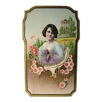 Salesmans Sample Calendar Art With Art Nouveau Woman and Flower Design - Vintage German Print