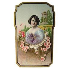 Salesmans Sample Calendar Art With Art Nouveau Woman and Flower Design - Vintage German Print